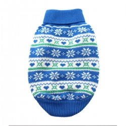 100% Pure Combed Cotton Blue Snowflake and Hearts Dog Sweater
