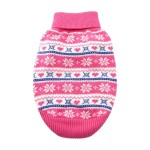 100% Pure Combed Cotton Pink Snowflake and Hearts Dog Sweater