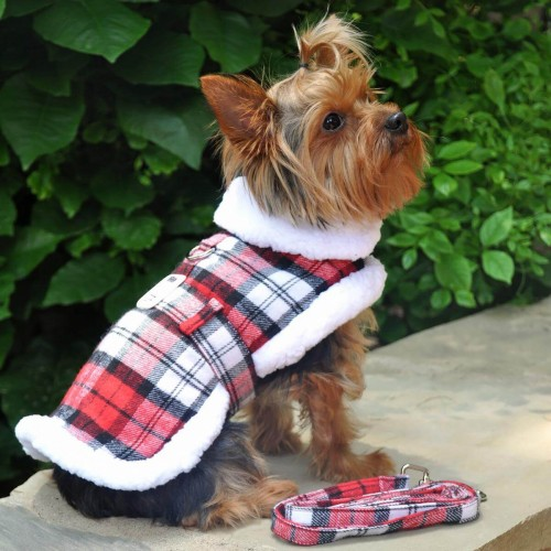 Designer Red & White Plaid Harness Coat and Matching Leash