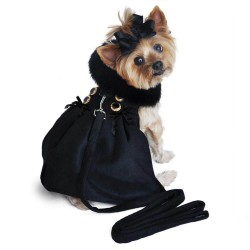Classic Designer Black Wool Dog Coat
