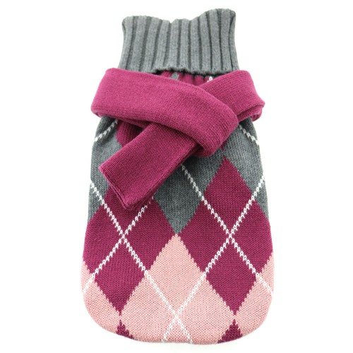 Argyle Purple 100% Pure Combed Cotton Dog Sweater with Scarf