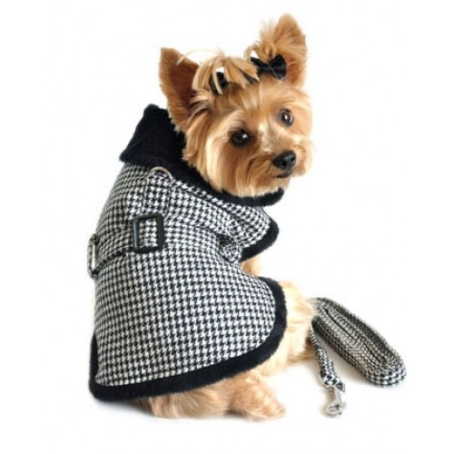 Black & White Classic Houndstooth Dog Harness Coat with Leash