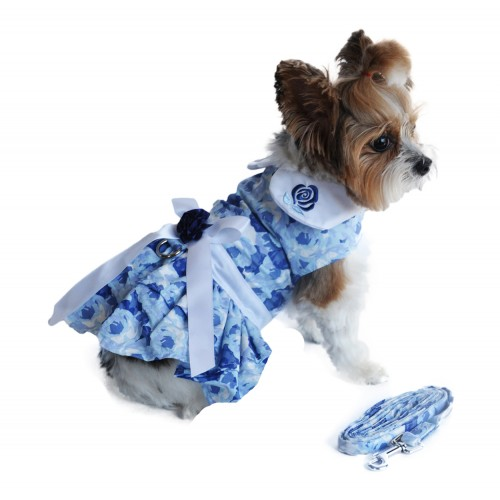 Blue Rose Dress with D-Ring and Matching Leash