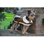 Brown and Black Trim Vintage Bomber Coat & Leash