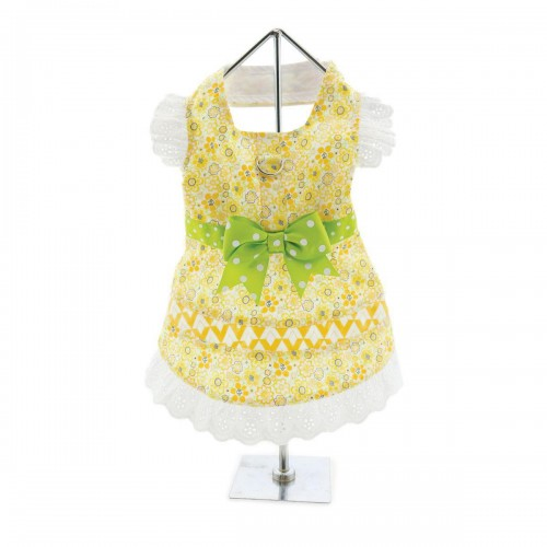 Emily Yellow Floral & Lace Dress with matching leash and D-Ring