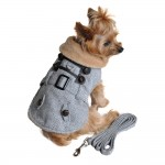 Grey Herringbone Dog Coat Harness with Matching Leash