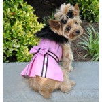 Pink Wool Classic Dog Coat Harness and Fur Collar with Matching Leash