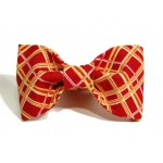 Red, Gold and Pink Plaid Bow Tie