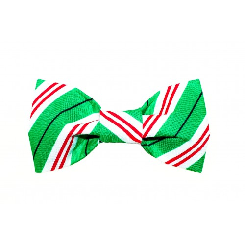 Green, Red and White Stripe Bow Tie