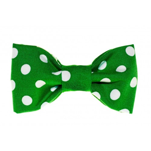 Green and White Dots Bow Tie